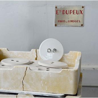 Interrupteur double poussoir porcelaine 010 blanc chrome o10cm zangra normal