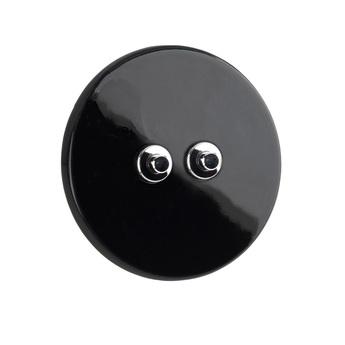 Interrupteur double poussoir porcelaine 010 noir chrome o10cm zangra normal