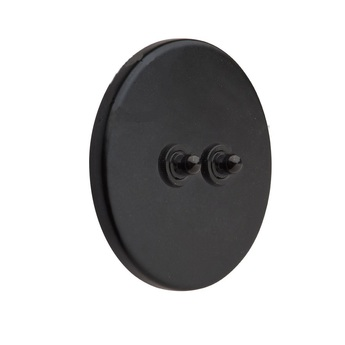 Interrupteur double poussoir porcelaine 021 noir mat o10cm zangra normal