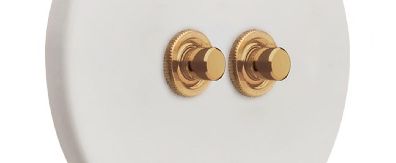 Interrupteur interrupteur double poussoir blanc or l10cm h10cm zangra normal
