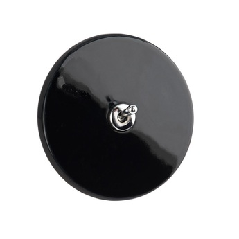 Interrupteur porcelaine 010 noir chrome o10cm zangra normal