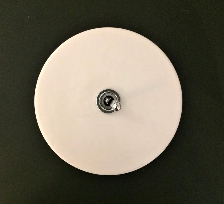 Interrupteur porcelaine 020 blanc bouton argent o10cm zangra 37095 product