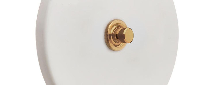 Interrupteur simple poussoir blanc or o10cm h10cm zangra normal