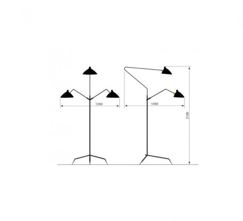 3 bras pivotants serge mouille editionssergemouille l3b noir luminaire lighting design signed 20772 product