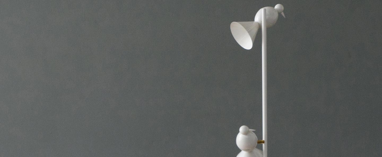 Lampadaire alouette standing three birds blanc lcm h150cm atelier areti normal