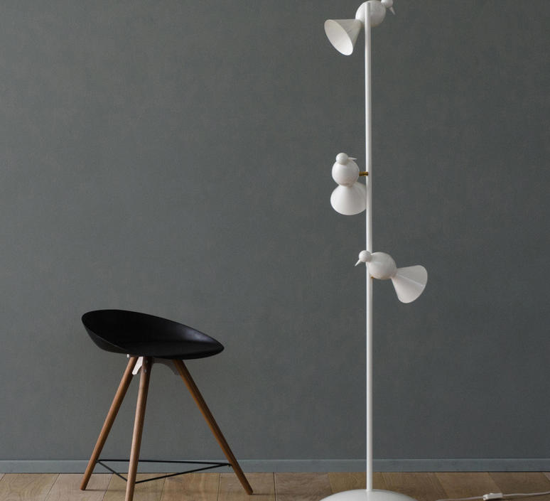 Alouette standing three birds gwendolyn et guillane kerschbaumer lampadaire floor light  atelier areti  alouette standing 3 birds brass white  design signed 63763 product