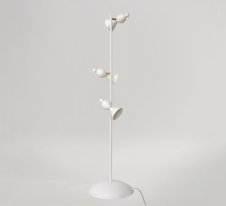 Alouette standing three birds gwendolyn et guillane kerschbaumer lampadaire floor light  atelier areti  alouette standing 3 birds brass white  design signed 64589 product