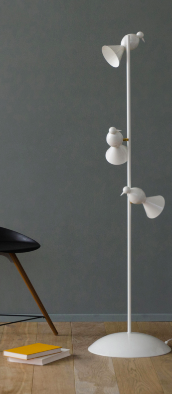 Lampadaire alouette standing three birds blanc or lcm h150cm atelier areti normal