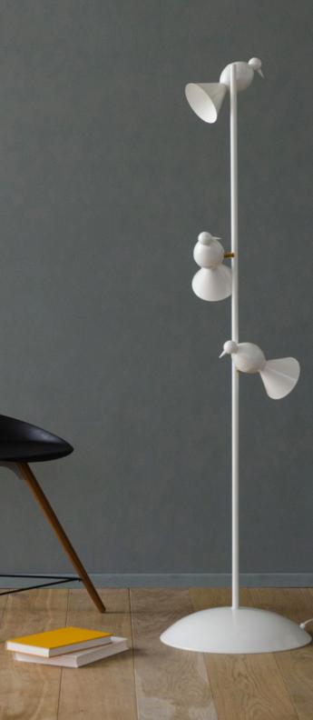 Lampadaire alouette standing three birds blanc or lcm h150cm atelier areti normal