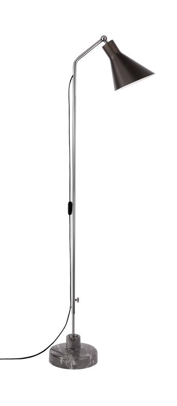 Lampadaire alzabile noir chrome marbre gris led 2700k 806lm l38cm h216cm tato italia normal