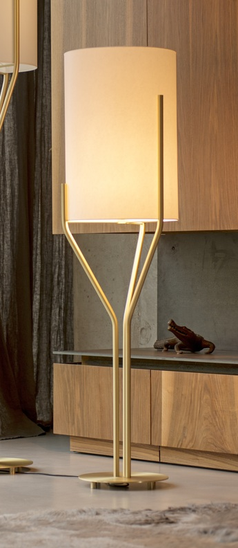 Lampadaire arborescence l blanc et laiton o40cm h150cm cvl normal