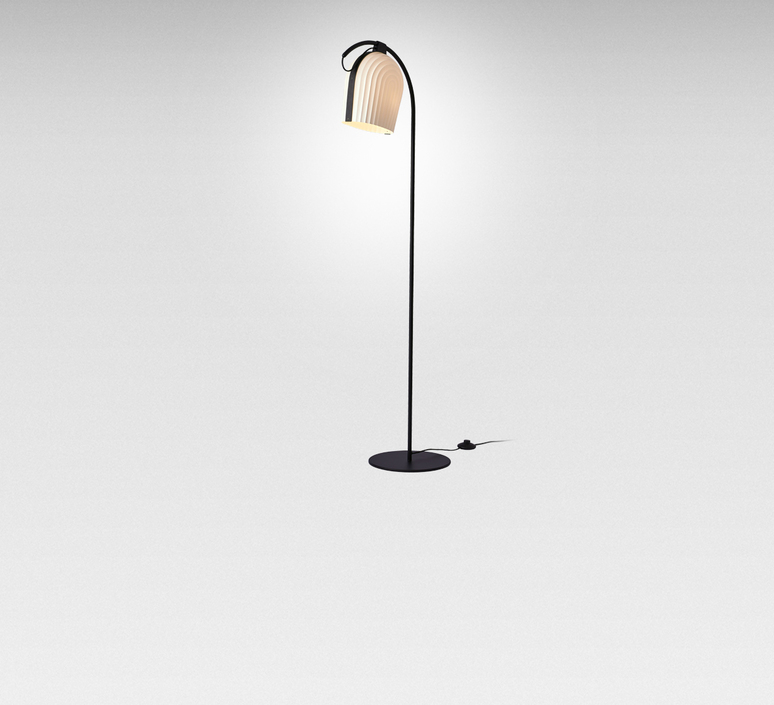 lampadaire arc blanc led 28cm h142cm le klint luminaires nedgis. Black Bedroom Furniture Sets. Home Design Ideas
