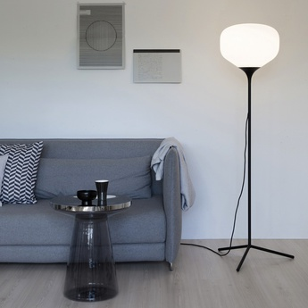 Lampadaire awa blanc mat noir h157cm o40cm teo normal