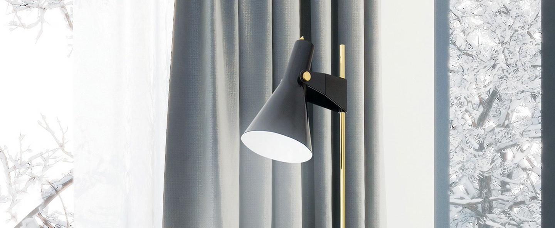 Lampadaire b4 grand modele noir laiton o22cm h165cm disderot normal