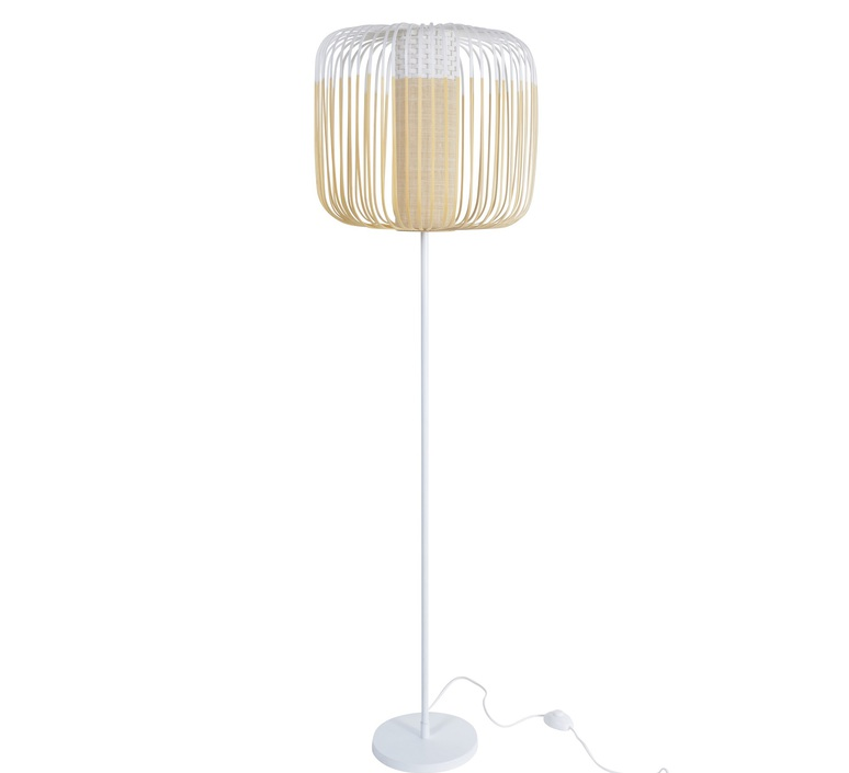 lampadaire bamboo light blanc 45cm h150cm forestier luminaires nedgis. Black Bedroom Furniture Sets. Home Design Ideas