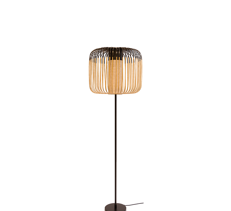 Lampadaire bamboo light noir et bambou h150cm forestier 26746 product