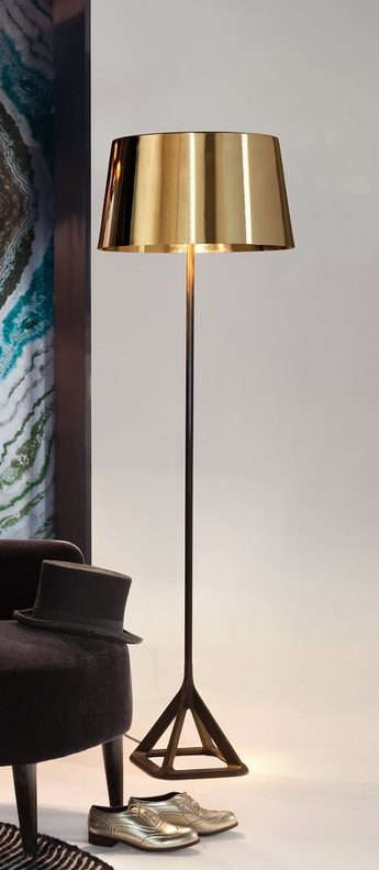 Lampadaire base laiton noir l50cm h160cm tom dixon normal