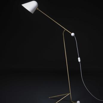 Lampadaire beghina blanc brillant laiton led 3000k 200lm l40cm h127cm tato italia normal