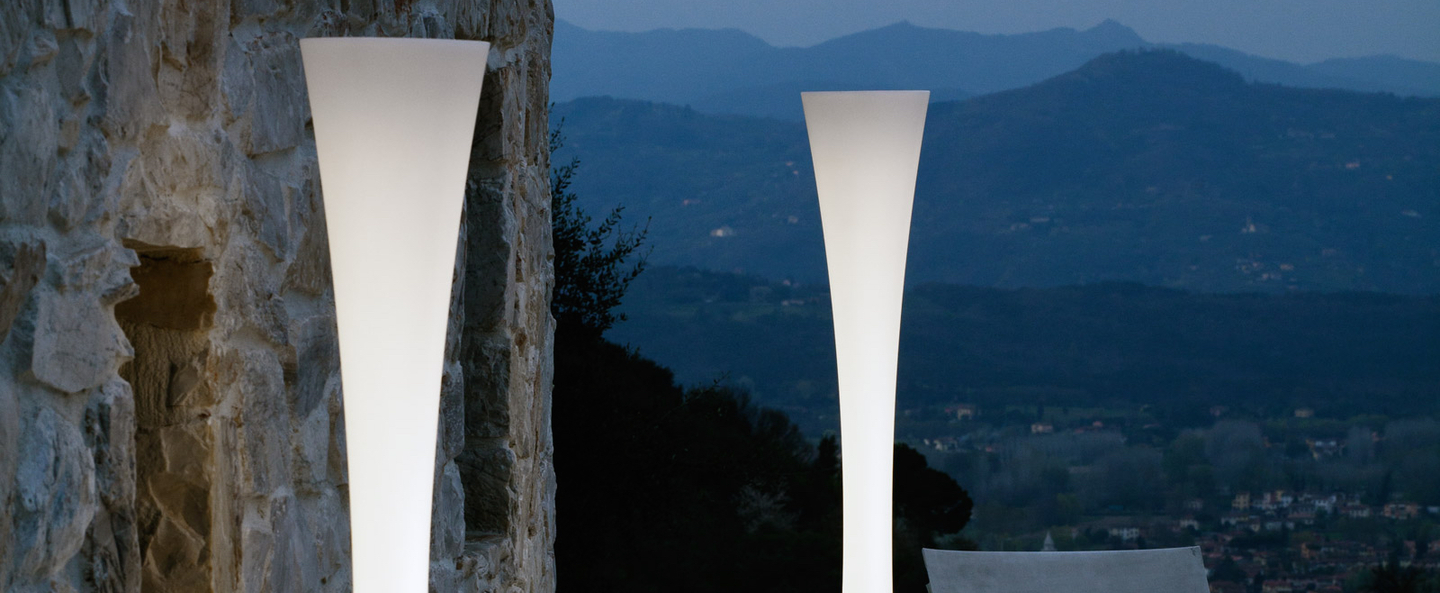 Lampadaire biconica pol blanc h195cm martinelli luce normal