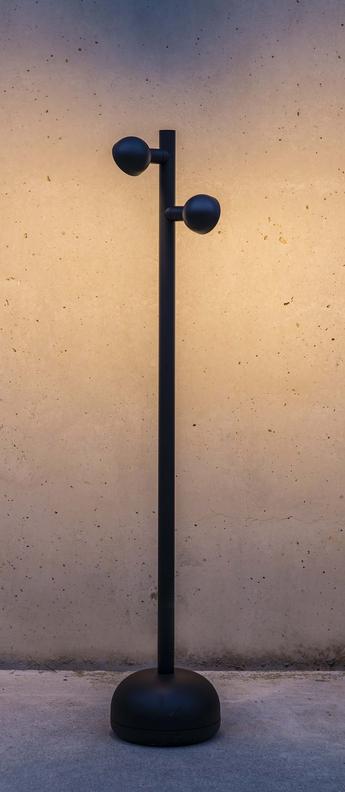 Lampadaire brot lampe balise noir led k lm o16cm h90cm faro normal
