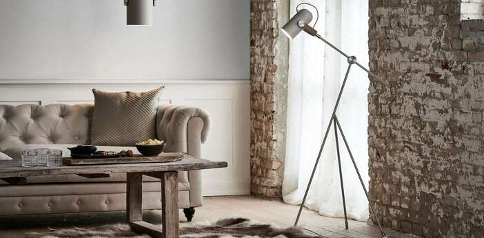 Lampadaire carronade beige led o47cm h133cm le klint normal