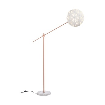 Lampadaire chanpen hexagonal blanc cuivre o36cm h142 214cm forestier normal