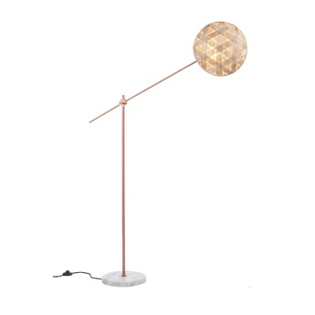 Lampadaire chanpen hexagonal naturel cuivre o36cm h142 214cm forestier normal