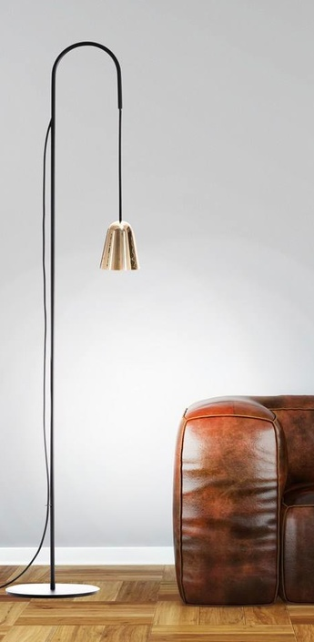 Lampadaire chaplin noir laiton h140cm formagenda normal
