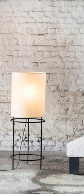 Lampadaire cylinder blanc noir o40cm h110cm serax normal