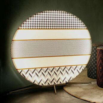 Lampadaire d exterieur babu textile l noir blanc orange ip65 led 3000k 3640lm l100cm h107cm contardi normal