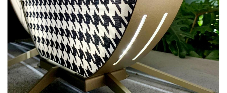 Lampadaire d exterieur babu textile m liseret bleu ip65 led 3000k 2600lm l70cm h75cm contardi normal