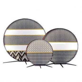 Lampadaire d exterieur babu textile s liseret moutarde ip65 led 3000k 1820lm l50cm h53cm contardi normal