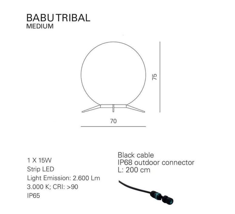 Babu tribal m massimiliano raggi lampadaire d exterieur outdoor floor light  contardi acam 002629   design signed nedgis 87686 product