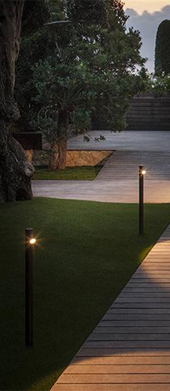Lampadaire d exterieur bamboo 4800 oxyde ip66 led 2700k 199lm o4cm h60cm vibia normal