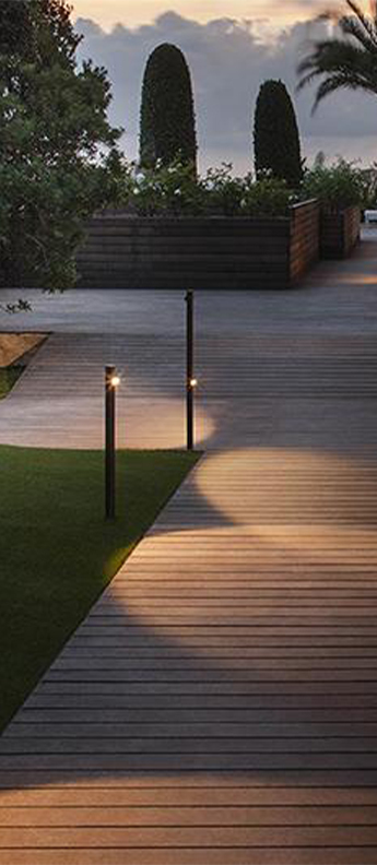 Lampadaire d exterieur bamboo 4801 oxyde ip66 led 2700k 399lm o4cm h90cm vibia normal