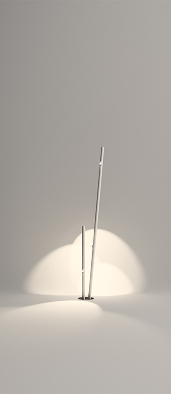 Lampadaire d exterieur bamboo 4810 blanc ip66 led 2700k 230lm o43cm h190cm vibia normal