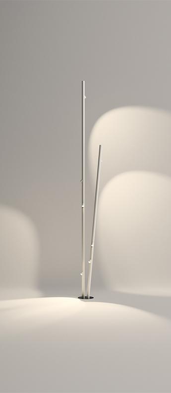 Lampadaire d exterieur bamboo 4811 blanc ip66 led 2700k 330lm o35cm h270cm vibia normal
