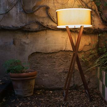 Lampe poser d 39 ext rieur cala bois marron h60cm for Lampadaire exterieur bois