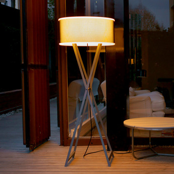 Lampadaire d exterieur cala gris brun h140cm marset normal