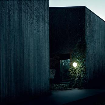 Lampadaire d exterieur ic lights floor 2 outdoor opalin acier inox brosse et oeil de perdrix ip44 o36cm h185 2cm flos normal