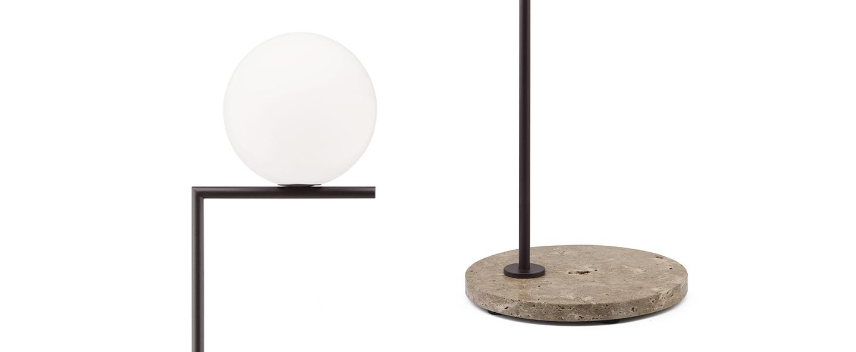 Lampadaire d exterieur ic lights floor 2 outdoor opalin brun fonce et travertino imperiale ip44 o36cm h185 2cm flos normal