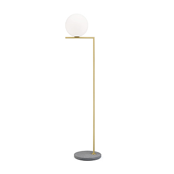 Lampadaire d exterieur ic lights floor 2 outdoor opalin laiton et lave grise ip44 o36cm h185 2cm flos normal