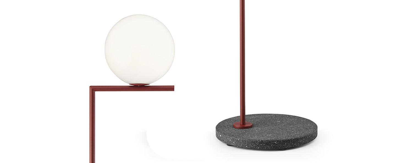 Lampadaire d exterieur ic lights floor 2 outdoor opalin rouge burgundy et lave noire ip44 o36cm h185 2cm flos normal