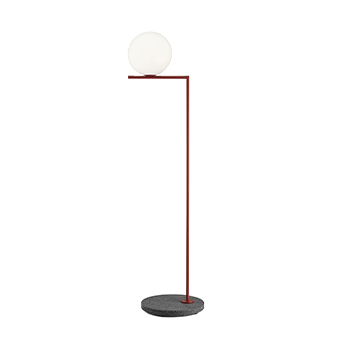 Lampadaire d exterieur ic lights floor 2 outdoor opalin rouge burgundy et lave noire ip44 o36cm h185 2cm flos normal