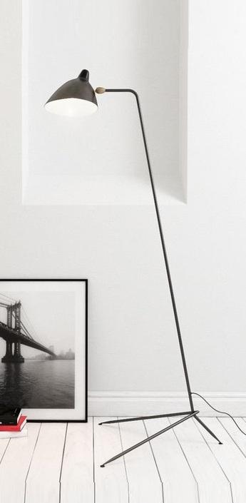 Lampadaire droit noir h160cm serge mouille normal