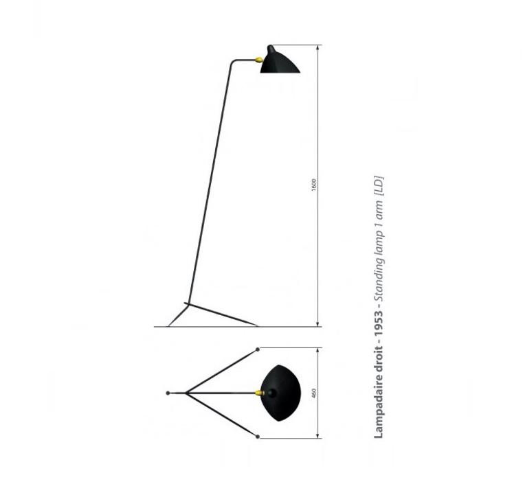 Lampadaire droit noir h160cm serge mouille nedgis - Lampadaire serge mouille ...