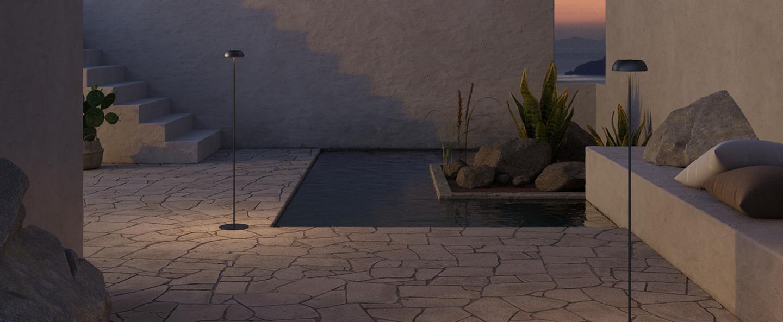 Lampadaire float noir ip55 o13 5cm h117 7cm axolight normal