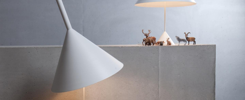 Lampadaire funnel blanc o45cm h156cm vertigo bird normal