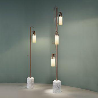 Lampadaire galerie blanc laiton marbre led o19 6cm h190cm fontana arte normal