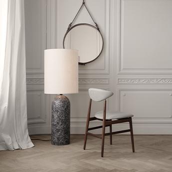 Lampadaire gravity xl marbre gris et blanc o20cm h130cm gubi normal